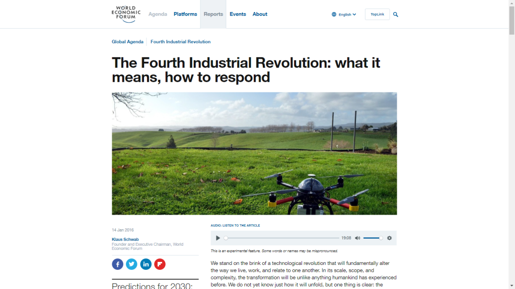 The Fourth Industrial Revolution: what it means, how to respond by Klaus Schwab, Founder and Executive Chairman of World Economic Forum.
