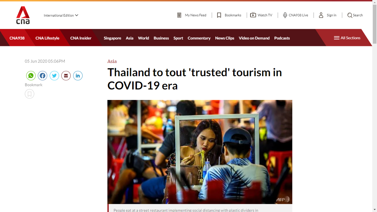 Get ready for Amazing Thailand (a screen grab from Channel News Asia)