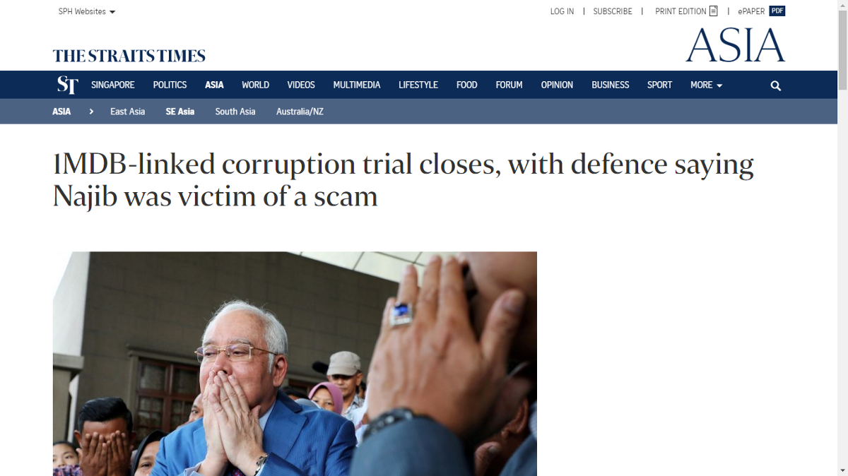 Relief or entitlement? Justice or smokescreen? (screen grab from Straits Times)